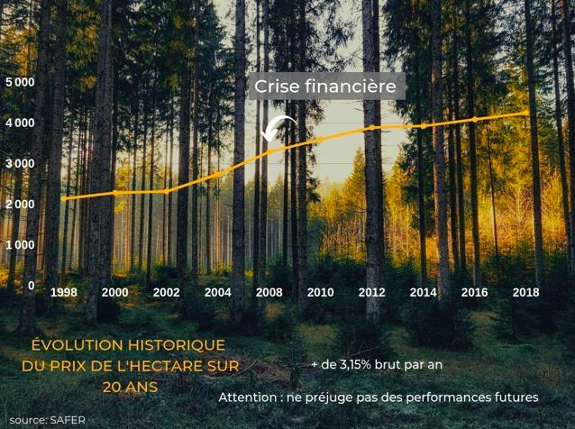 Évolution du prix de l'hectare de forêt sur 20 ans, en constante augmentation